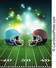 capacetes, futebol americano, campo