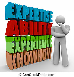 capacidade, knowhow, qualificações, pensador, experiência, trabalho, perícia, criteria