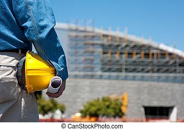 capataz, trabalhador construção, local, ou