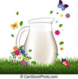 capim, jarro, fundo, flores brancas, leite