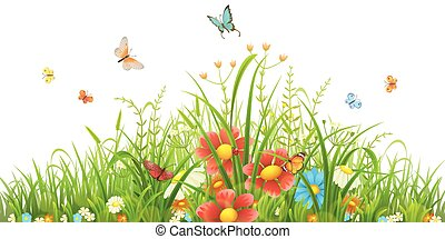 capim, verde, flores