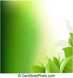 capim, verde, folheia, fundo