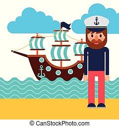 capitão navio, marinheiro, caricatura, uniforme