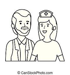 caráteres, doutor, trabalhadores, femininas, enfermeira, macho