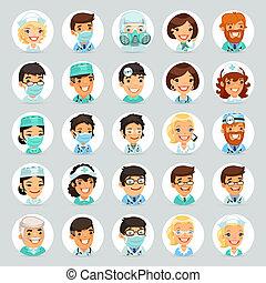 caráteres, doutores, caricatura, set2, ícones