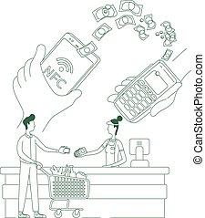 caráteres, magra, app, linha, cliente, conceito, caixa, criativo, shopping, pagamento, vetorial, e-pay, caricatura, nfc, terminal, smartphone, pessoas, idéia, illustration., teia, design., 2d