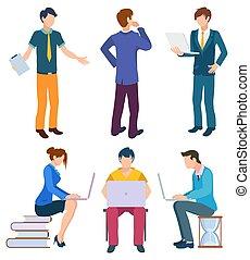 caráteres, negócio, jogo, líder, saliência, coders