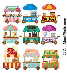 car, ícone, cobrança, loja, caricatura, mercado