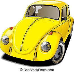 car, antiquado, amarela
