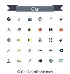 car, apartamento, ícones