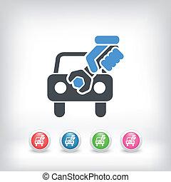 car, assistência, conceito, ícone