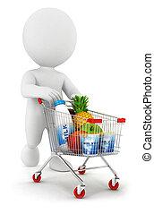 car, branca, 3d, shopping, pessoas