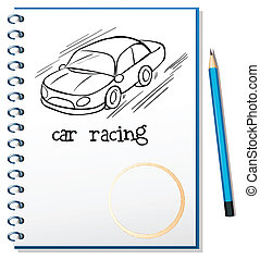 car, caderno, correndo, desenho