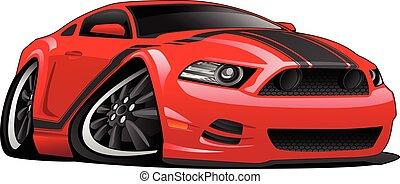 car, caricatura, músculo, ilustração, vermelho