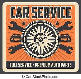 car, cartaz, pneu, serviço, chaves