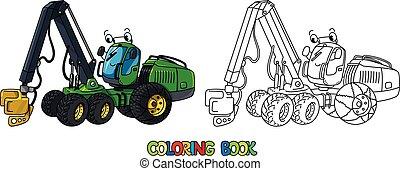 car, coloração, engraçado, harvester, livro, olhos
