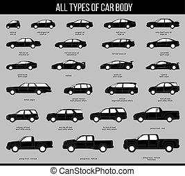 car, corporal, cinzento, tudo, tipos
