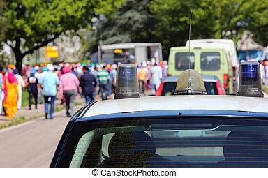 car, demonstração, polícia, durante, pessoas