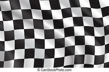 car, desporto, correndo bandeira, checkered