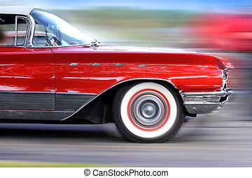 car, em movimento, rapidamente, clássicas, vermelho