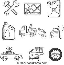 car, esboço, jogo, serviço, ícones