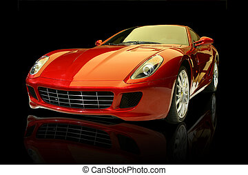 car, luxo, vermelho, esportes