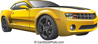car, músculo, amarela