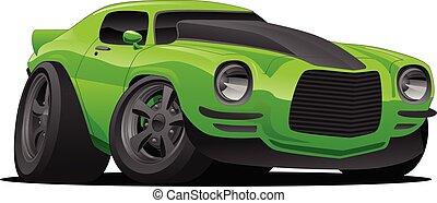 car, músculo, caricatura, ilustração