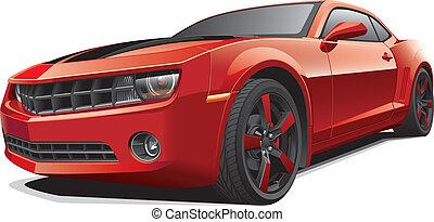car, músculo, vermelho