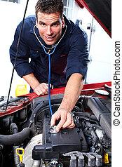 car, mechanic.