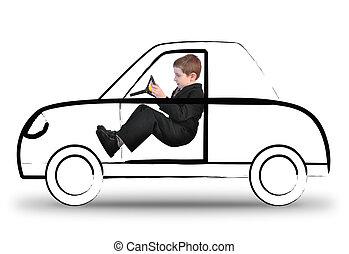 car, menino, trabalho, invisível, dirigindo, branca