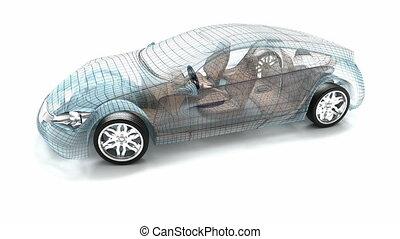 car, modelo, fio, desenho