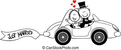 car, noivo, isolado, noiva