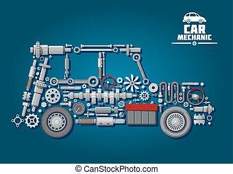 car, rodas, silueta, detalhes