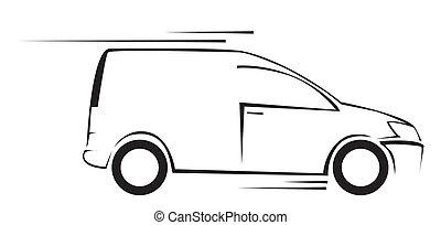car, símbolo, ilustração, vetorial, furgão