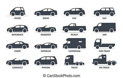 car, silueta, vetorial, automobile., corporal, objetos, jogo, shadow., isolado, pretas, tipo, fundo branco, ícones, teia, ilustração, variantes, modelo