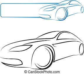 car, vetorial, desenho