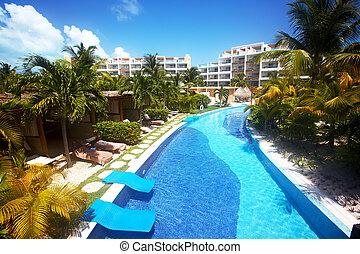 caraíbas, resort., piscina, natação