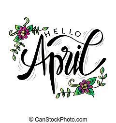 card., abril, mão, olá, lettering, saudação