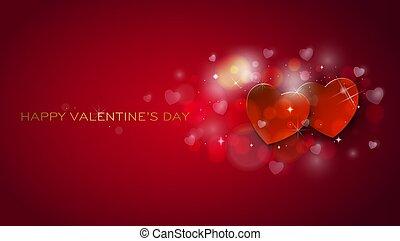 card., valentines, saudação, corações, shinning, dia, feliz