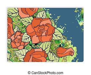 card., vindima, saudação, aquarela, rosas, desenho, padrão