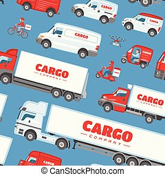 carga, carga, jogo, furgão, fundo, cima, car, minivan, isolado, ilustração, entregar, entrega, vetorial, caminhão, transportar, frete, veículo, transporte, branca, ou, escarneça