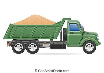 carga, conceito, transporte, ilustração, materiais, entrega, vetorial, caminhão, construção