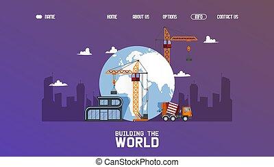 carga, grande escala, guindaste construção, technic, vetorial, predios, projeto, mundo, centro cidade, illustration.