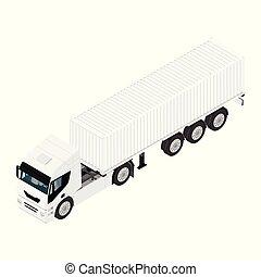 carga, isometric, transporte, semi, isolado, caminhão, fundo, branca, reboque, vista