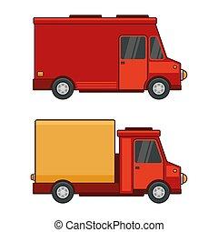 carga, jogo, car, entrega, experiência., vetorial, branca