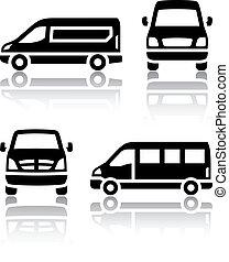 carga, jogo, furgão, ícones, -, transporte