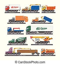 carga, jogo, transporte, ou, isolado, ilustração, trucking, entrega, concreto, vetorial, caminhão, misturador, fundo, veículo, branca, reboque, camião, transporte