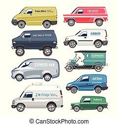 carga, minibus, furgão, carro familiar, veículo, automóvel, ilustração, isolado, entrega, vetorial, caminhão, fundo, minivan, citycar, automático, branca