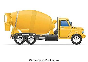carga, misturador, concreto, vetorial, caminhão, ilustração